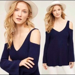 Knotted & Knitted Navy Cold Shoulder Sweater FLAW
